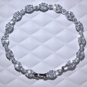 18k-white-gold-gf-made-with-SWAROVSKI-crystal-marquise-shape-chain-bracelet-19CM