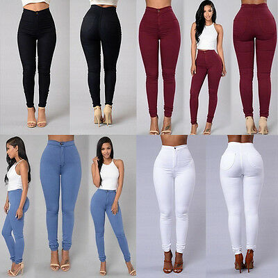 Women Pencil Stretch Casual Look Denim Skinny Jeans Pants High WaistTrousers