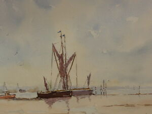 WATERCOLOUR-BARGES-ON-THE-ORWELL-ARTIST-STANLEY-BENNETT-FREE-SHIPPING-TO-ENGLAND