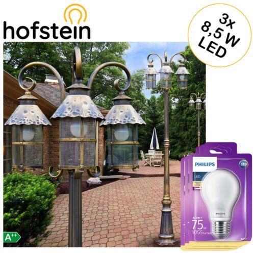 Mast Kandelaber schwarzgold Wege Außen Steh Lampen mit 3 Philips LED Birnen 8,5W
