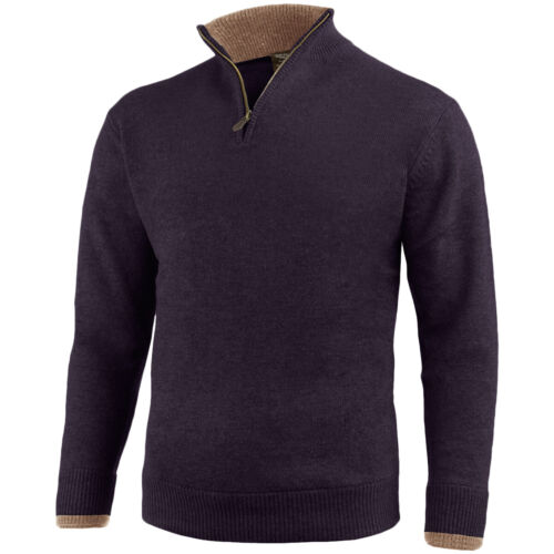 Jack Pyke Ashcombe Zip Neck Pullover Mens Knitted 100/% Lambswool Sweater Navy