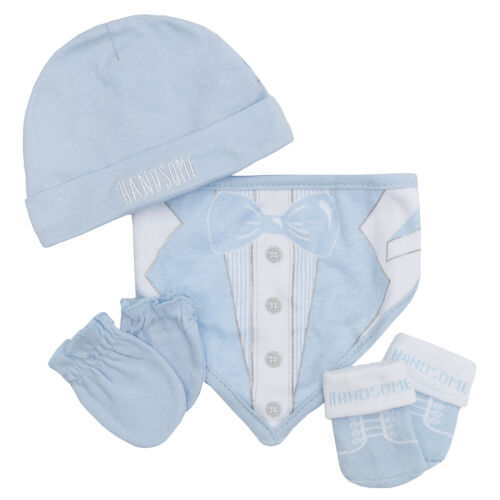 Newborn Baby Boys Girls Gift Pack Kids Novelty Bib Hat Mittens /& Booties Gift