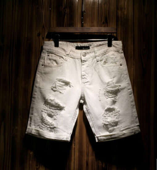 New Men's Short Destroyed Hole Ripped Plants Denim Jeans Slim Beach White Shorts