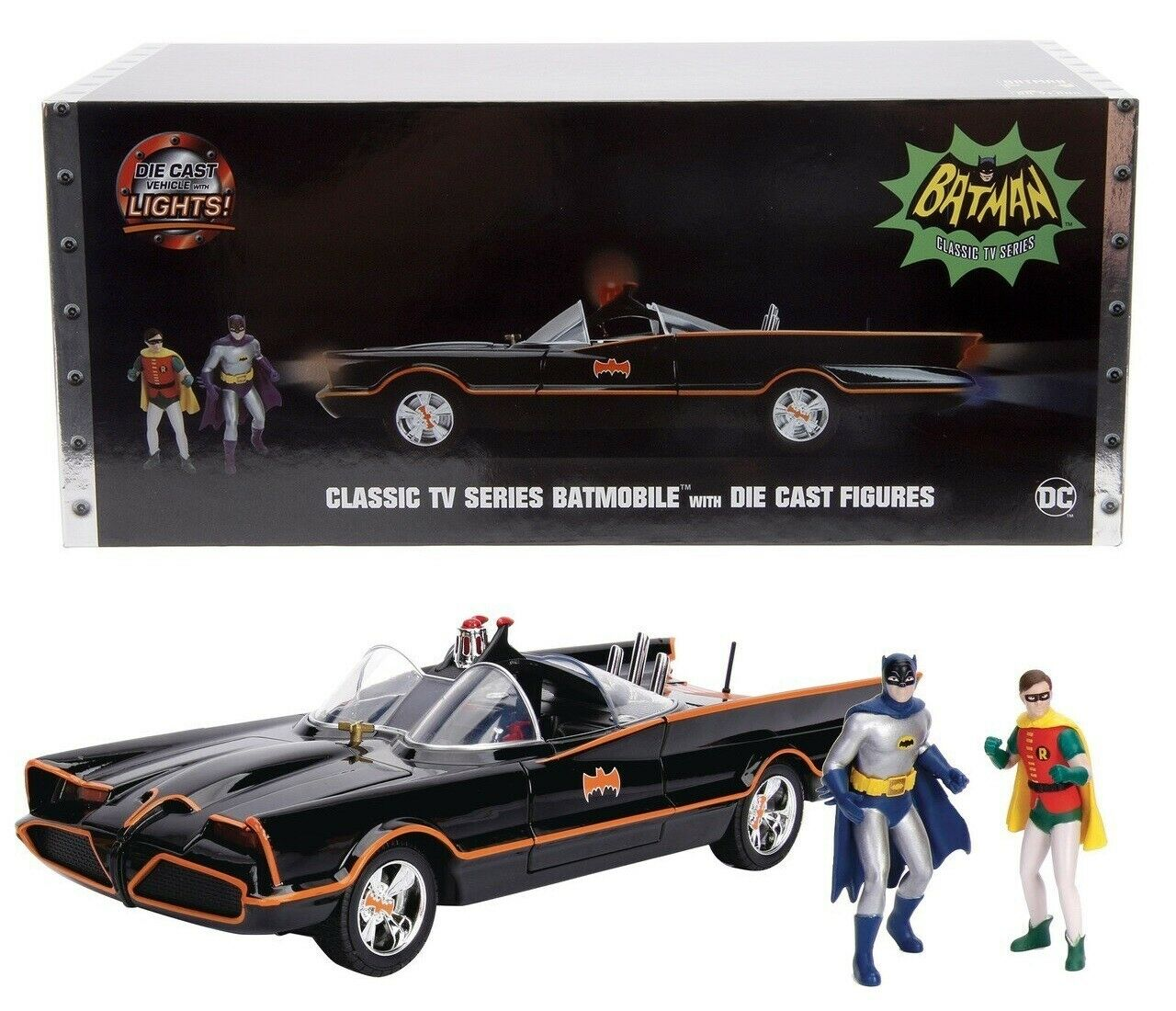 1 18 DC 1966 Classic TV Series Batmobile with Batman & Robin Light-up by Jada