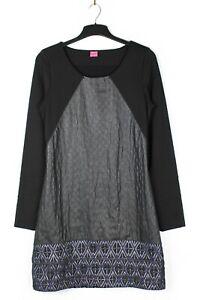 Save-the-Queen-XL-UK-14-16-schwarz-bestickt-Stretch-Tunika-Kleid-knielang