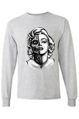 Men's Long Sleeve Shirt Marilyn Two Face Blonde Skeleton Zombie Rock Indie