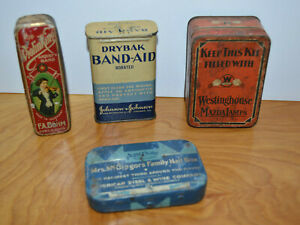 Vintage-METAL-ADVERTISING-TIN-LOT-F-A-Bohm-Harmonica-Drybak-Band-aid