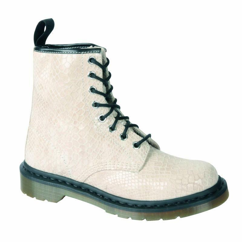 DR Martens 8 fori 1460 OFF bianca SNAKE 11821115 B merce ORIGINALE DOC