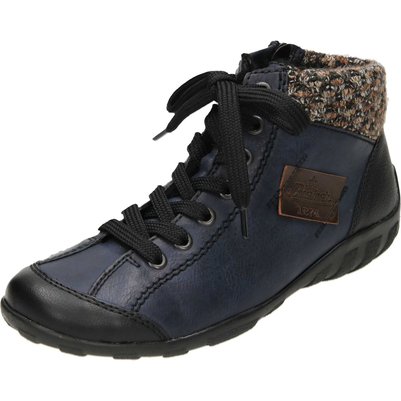 Rieker L6540 Ankle Stiefel Lace Up Zip High Top Trainers Schuhes ROT/Blau