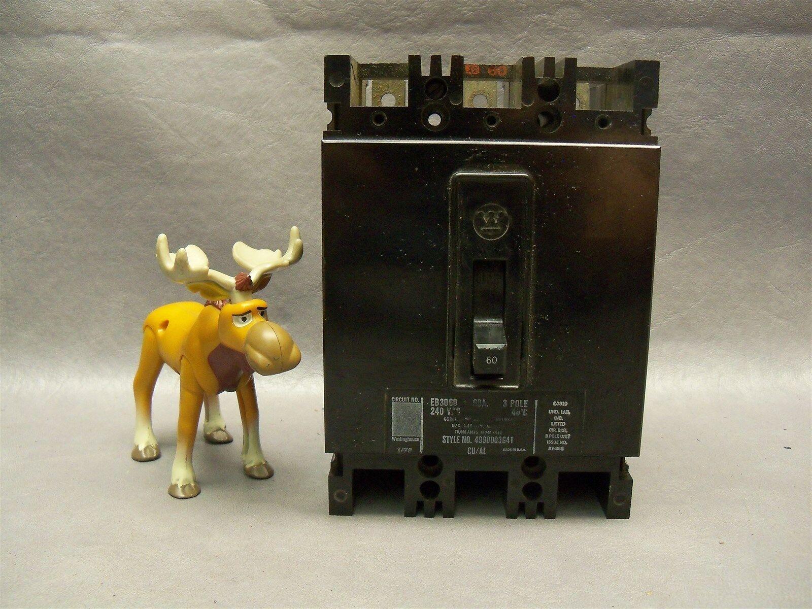 Westinghouse EB3060 Circuit Breaker 60 AMP 240 Vac Style D03641
