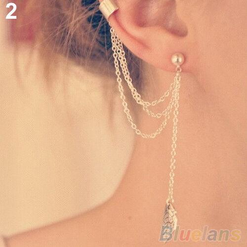 1PC Rock Punk Tassels Metal Chain Charms Pendant Dangle Ear Cuff Wrap Earring