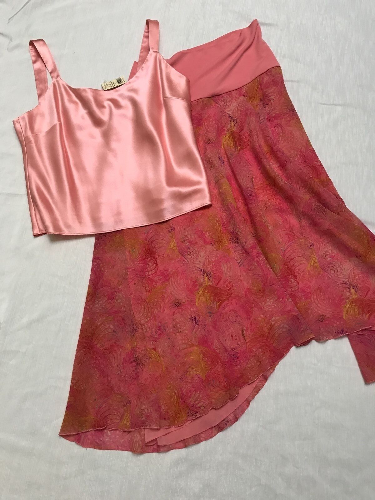 Lafayette 148  New York pink silk top +Trina Turk long skirt size M L  8 10