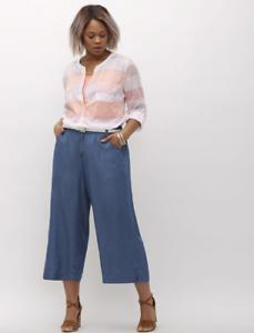 Lane Bryant Ultra Light Denim Wide Leg Crop Jeans Womens Plus size 22