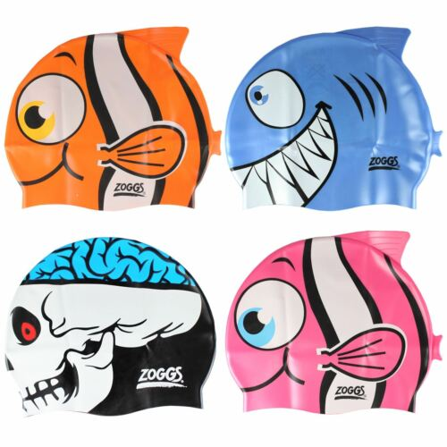 Zoggs Kids Silicone Character Swimming Cap Swim Pool Hat Childrens Fish Shark