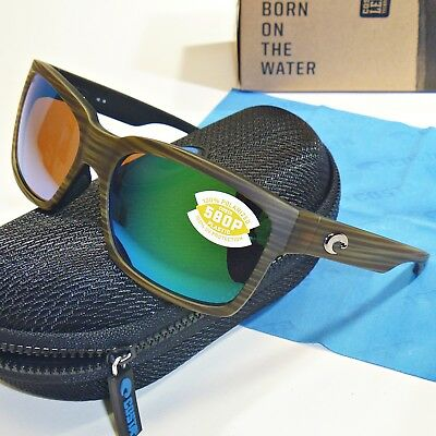 New Costa Del Mar Playa Polarized Sunglasses 580G Glass Matte Verde Teak//Green