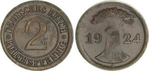 Weimar 2 Pfennig 1924 A Lack Coinage, Without Outer Ring Embossed F. Vz 3,32g