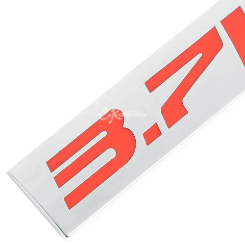 3M TAPE ON METAL EMBLEM DECAL LOGO TRIM BADGE POLISHED CHROME RED 3.7L 3.7 L