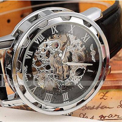 Luxury Watch Men Leather Classic Dial Skeleton Mechanical Sport Army Wrist Watch