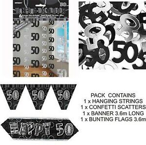 Image Is Loading 50th BIRTHDAY PARTY DECORATIONS PACK BLACK BANNER FLAGS