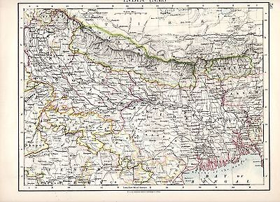 north West On Reverse Analytical 1904 Map ~ India ~ North Eastern Sheet Asia Maps Antiques