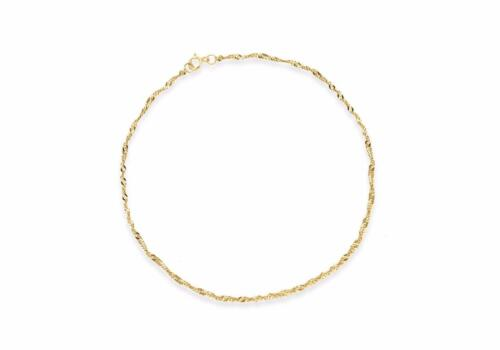 """9ct Yellow Gold 20 Twist Curb Chain Bracelet 23cm//9/"""" Thin Womens Anklet Gift Box"""