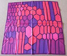 Vintage 60s VERA NEUMANN 100% Silk Scarf Hand Rolled Edges Bright Pinks & Purple