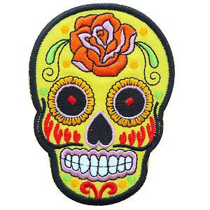 Skull Yellow Mexican Sugar Rose Flower Tattoo Hippie Biker Iron On