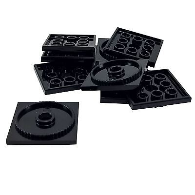 Lego Lot of 4 New Black Turntables 4 x 4 Square Bases Locking Pieces