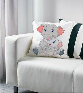 Mom And Baby Elephants Drawing Art Decorative Pillow Cushion Cover