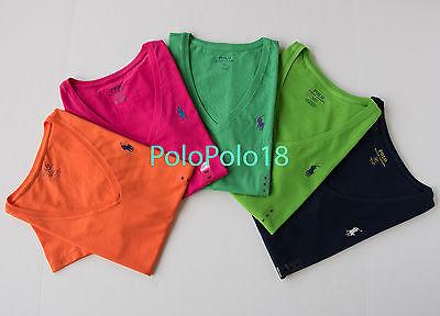 New Polo Ralph Lauren Women Pony V Neck T Shirt XS S M L