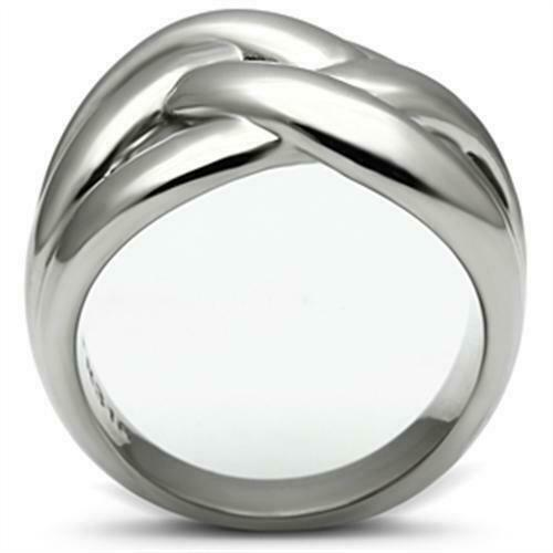 Ladies silver ring band stainless steel no stone chunky weave all sizes new 396