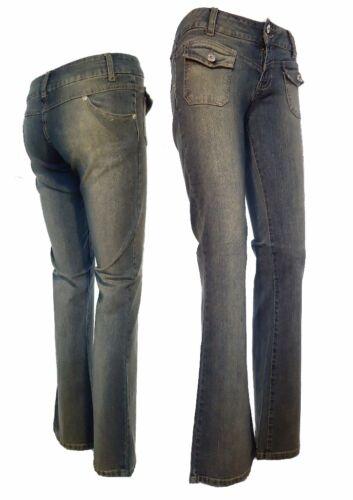 Damen Bootcut Hüft Jeans Hüftjeans Jeanshose Denim Größe XS M L 32 34 36 38 40
