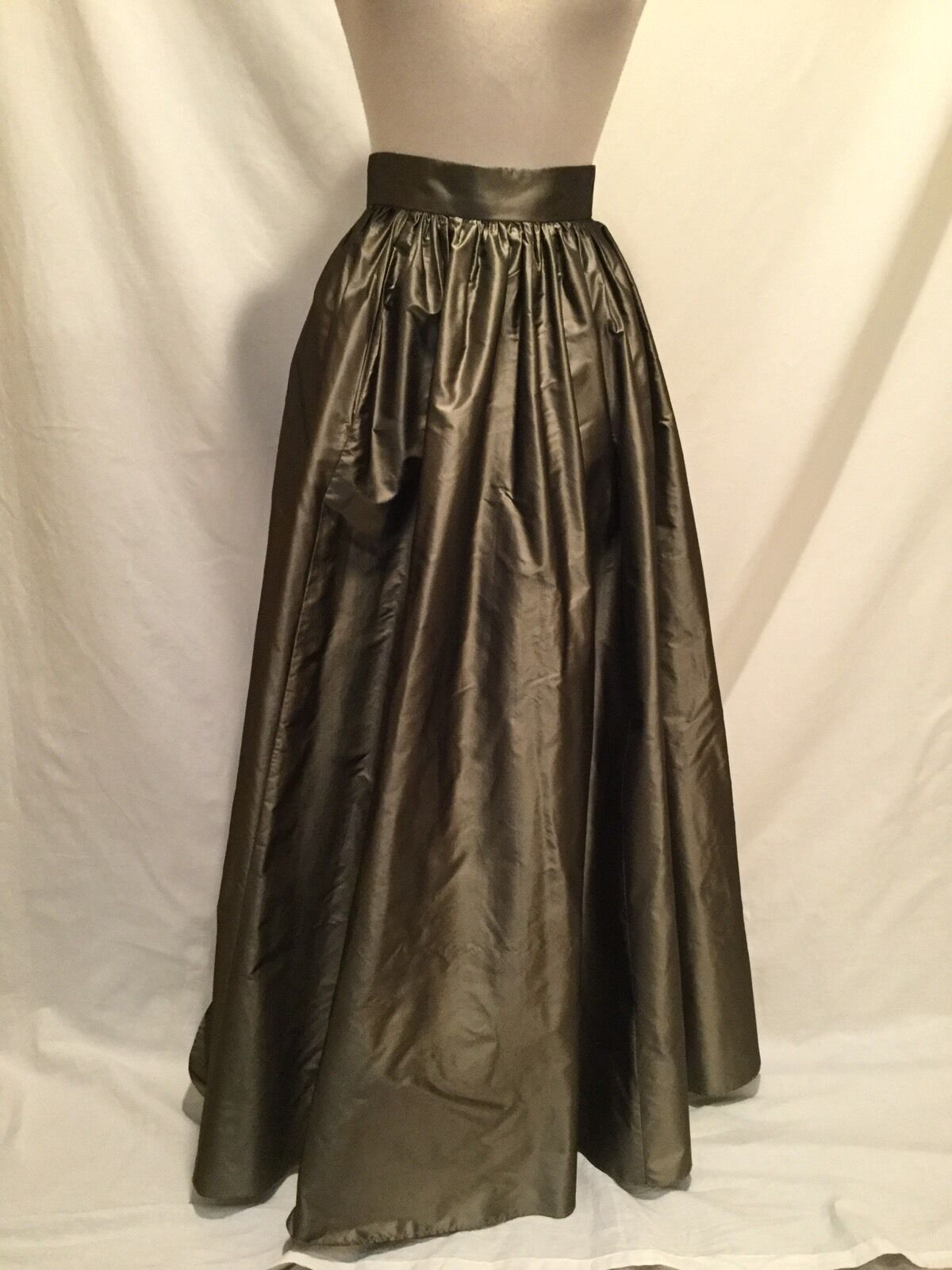 STEVEN STOLMAN Full Length Silk Ballroom Skirt-Khaki Green-28  Waist