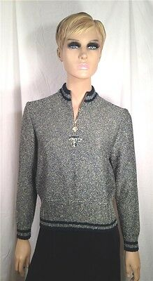 St. John Sport by Marie Gray Green Gold Ivory Mock Neck Pullover Sweater - Sz S