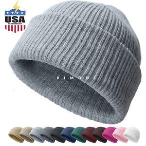 40929045ad1863 Ribbed Thick Beanie Plain Knit Cuff Ski Cap Skull Hat Warm Solid ...