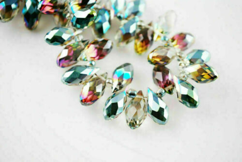20Pcs Charms Faceted Glass Crystal Teardrop Pendant Finding Spacer Beads 6x12mm#