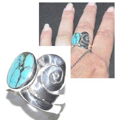 Bague Artisanale En Argent Massif 925 Et Turquoise Bleue T 60 Bijou Ring