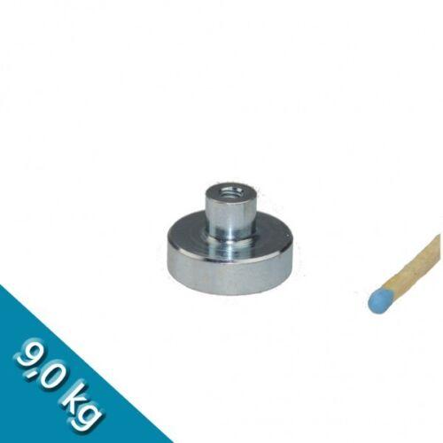 hält 9 kg Neodym Flachgreifer Ø 20,0 x 6,0 mm mit Buchse M4