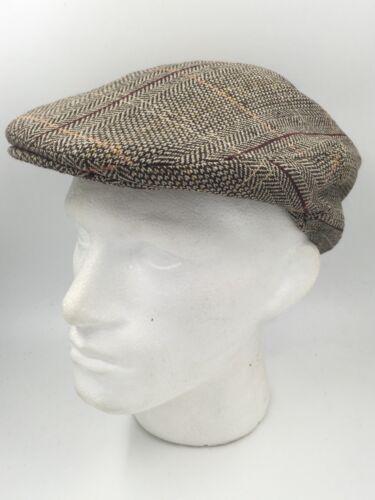 BROWN BEIGE ORANGE WINE HERRINGBONE CHECK FLAT CAP HA932 BNWT