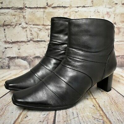 Womens Pavers Black Leather Mid Heel
