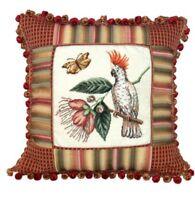 Cockatoo Petit-point/fabric Trim 16x16 Pillow