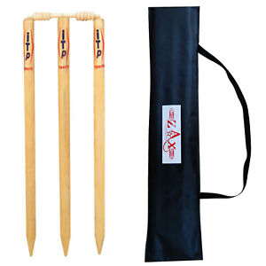 Wooden-Cricket-Stumps-Wickets-amp-Bails-Natural-Color-with-Bag-Adults