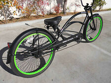 "Micargi MUSTANG Chopper 26"" Stretch Beach Cruiser 68 spokes Matt Black"