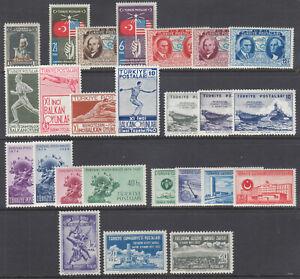 Turkey Sc 727//1089 MLH. 1931-1952 issues, 7 cplt sets, F-VF