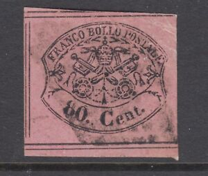 Roman States Sc 18 used 1867 80c black on lilac Papal Arms, light cancel