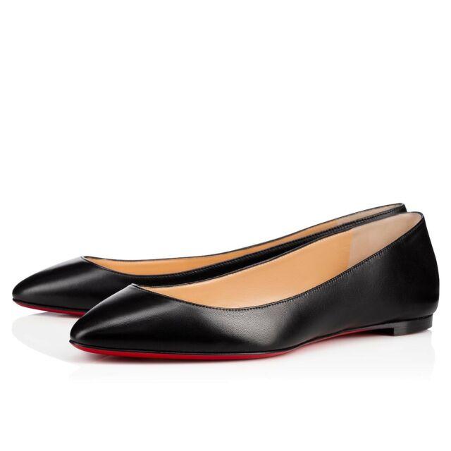 newest 9520f 0d2cf Christian Louboutin Eloise Black Nappa Shiny Leather Ballerina Ballet Flat  36