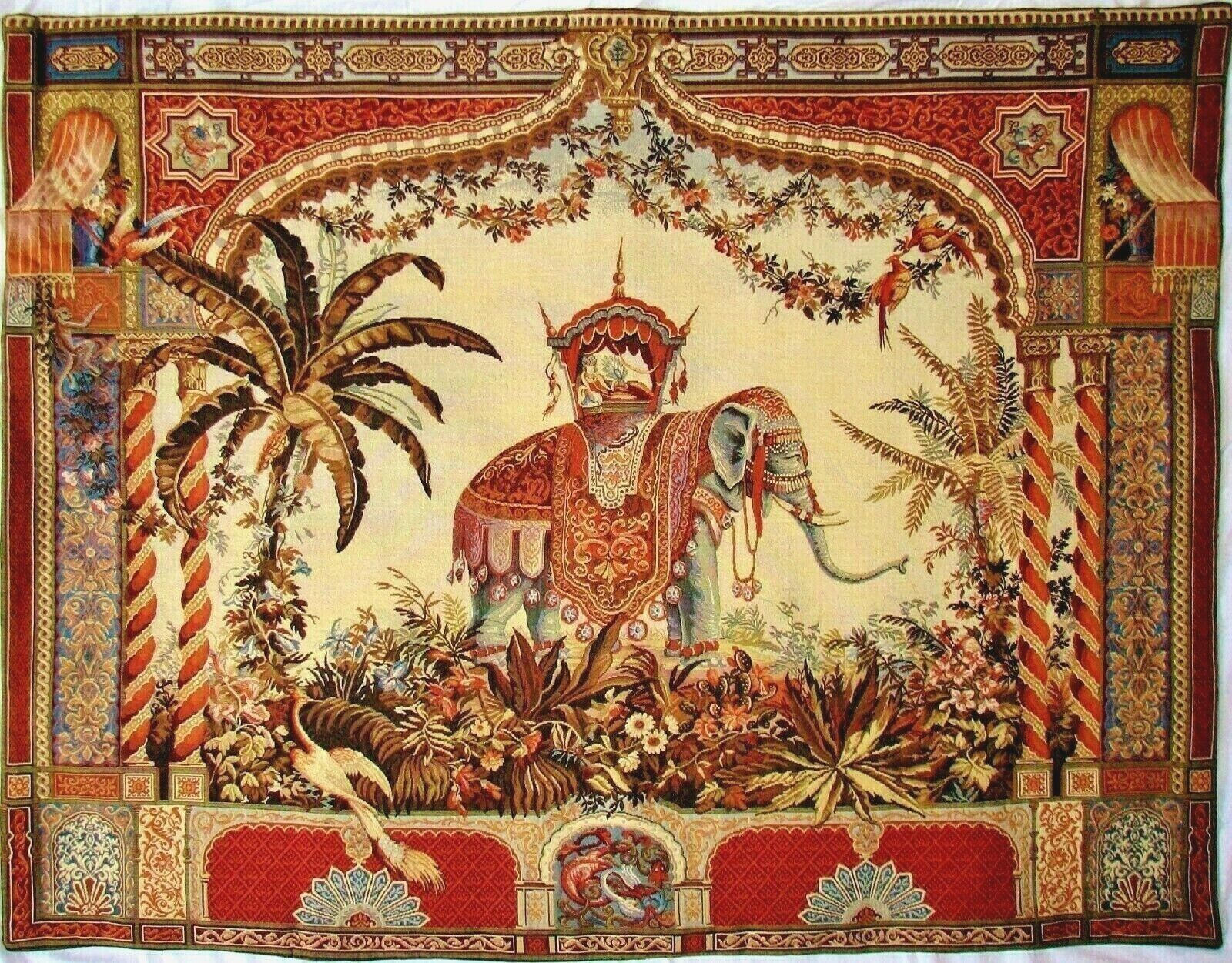 BEAUTIFUL QUALITY BELGIAN WOVEN TAPESTRY WALL HANGING  THE ELEPHANT , 54  X 69