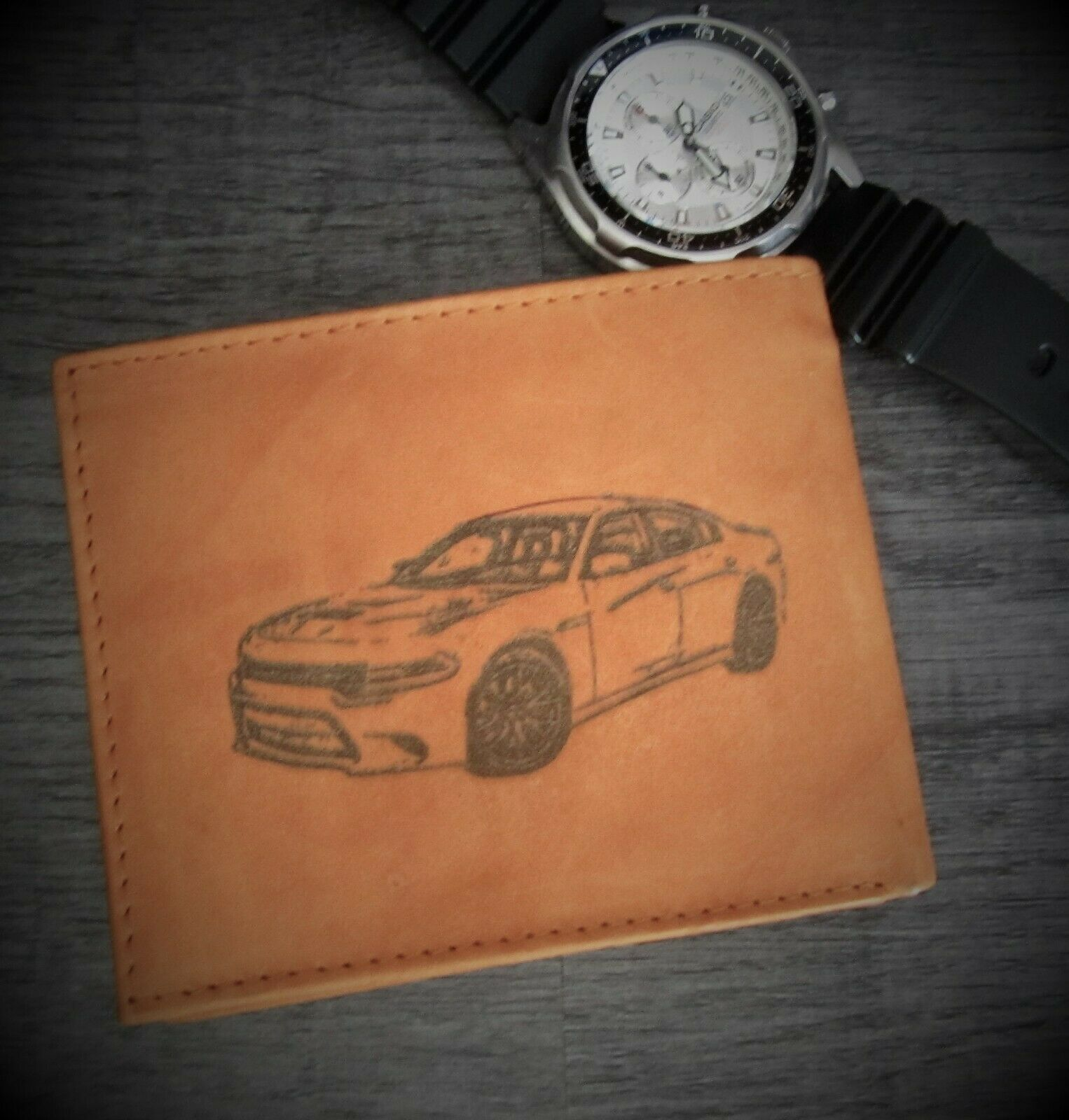 Mens Custom Bifold Leather Wallet-DODGE CHARGER SRT HELLCAT Muscle Car Image