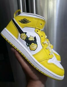 Details about Nike Air Jordan 1 Retro Mid Floral Dynamic Yellow Size 2y