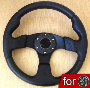 VOLANT-Tuning-Noir-PU-Cuir-pour-Peugeot-106-206-306-205-309-406-XS-XSI-GTI